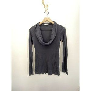James Perse Cowl-Neck Long Sleeve Top Black